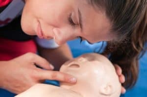 infant CPR training - The infant's airway